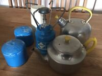 Primus Stove, 2 Gas Refills, Kettle and Teapot