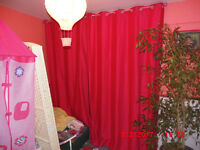 Pink Curtains including pole