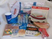 Drinks Cup, beach ball, bags, scratch map, hat, lolly moulds, t-shirt, top, bat & ball, luggage tags