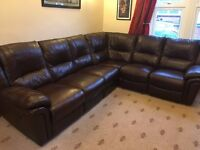 LOOK! REDUCED PRICE!! Immaculate top quality leather corner sofa with reclining chairs at each end