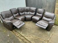 Brown leather recliner corner sofa*can deliver