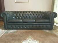 Vintage High Quality Green Leather Chesterfield Suite