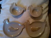'NEW' SHUDEHILL'S CHICKEN SHAPED SET OF DISHES/PLATES 'TAUPE COLOUR'