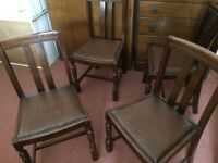 4 vintage oak dining chairs