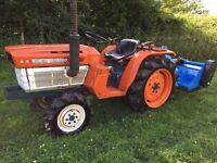 Kubota B1600 4WD Compact Tractor with New 4ft Flail Mower