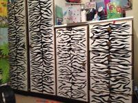 Double wardrobe, small wardrobe & drawers *zebra print*
