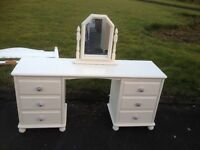 Shabby Chic Farrow and Ball Dresser with Vintage Handles & Matching mirror