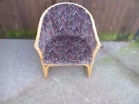 Cain Chair With Fabric Back and Cushion Delivery Available