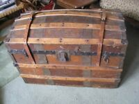 Chest Trunk Domed Tooled Leather covered wood