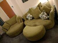 DFS Cuddle sofa, chair and footstool, excellent condition, lime green