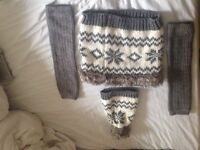 Gorgeous matching woolly hat, snood and leg warmers