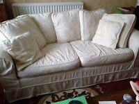 4 sofas , 2 cream , with removable washable covers , plus 2 blue ikea sofas