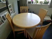 Solid maple wood table with four chairs