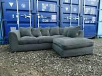 Jumbo Cord Grey Corner Sofa Excellent Clean Condition*