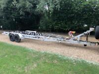 SBS twin axle galvanised heavy duty boat trailer. Ex MOD, 6.4 ton capacity