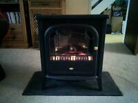 Electric log effect heater and slate effect hearth