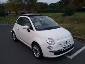 2013 fiat 500 lounge only 19k miles fsh red & cream interior panoramic sliding roof like new fsh