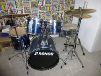 Sonor Drum Kit, stool and music stand