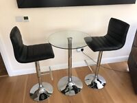 X2 black bar stalls with glass table