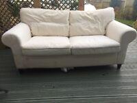 Ikea Settee Sofa White For Sale