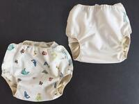 2 x Motherease Airflow Ocean/White nappy wraps Large 20-30lbs
