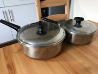 Set of two stainless cooking pans