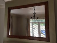 Large wooden frame mirror