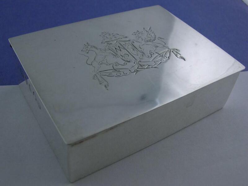 George III Silver Box London c1797 maker HC IB w/ Soli Deo elaborate crest