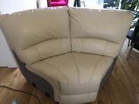 Ronson Bisque/cream colour corner leather sofa from Furniture Village