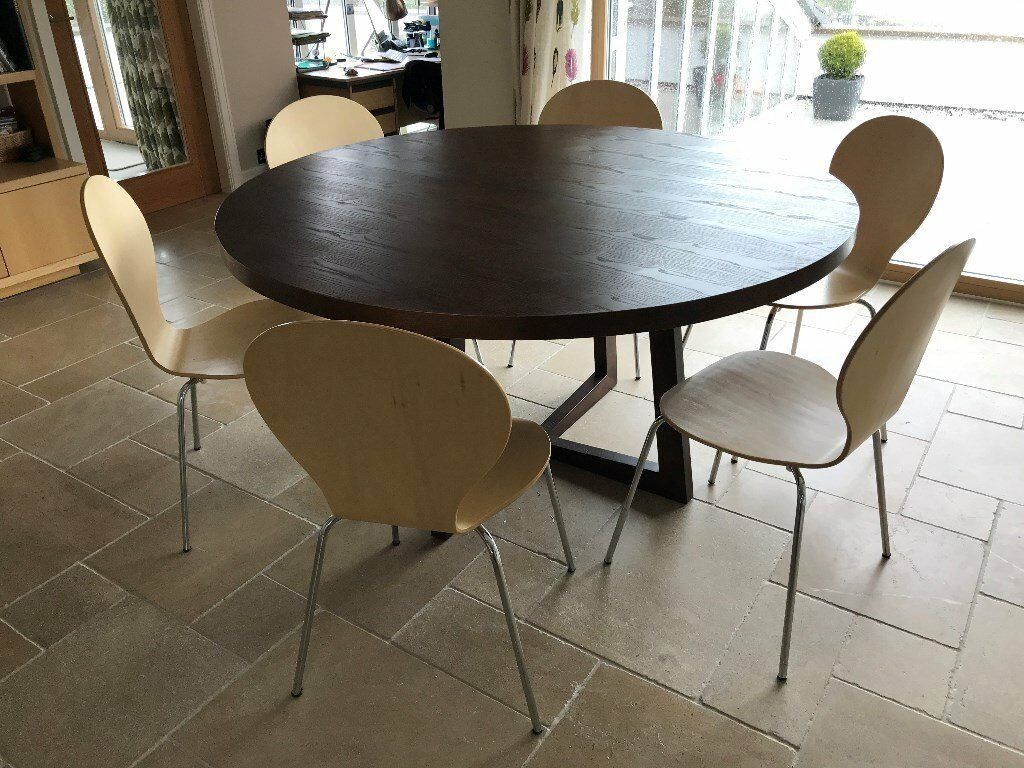 150cm Round Dining Table With Six Chairs Good Condition Although Some Marking On Veneer Of
