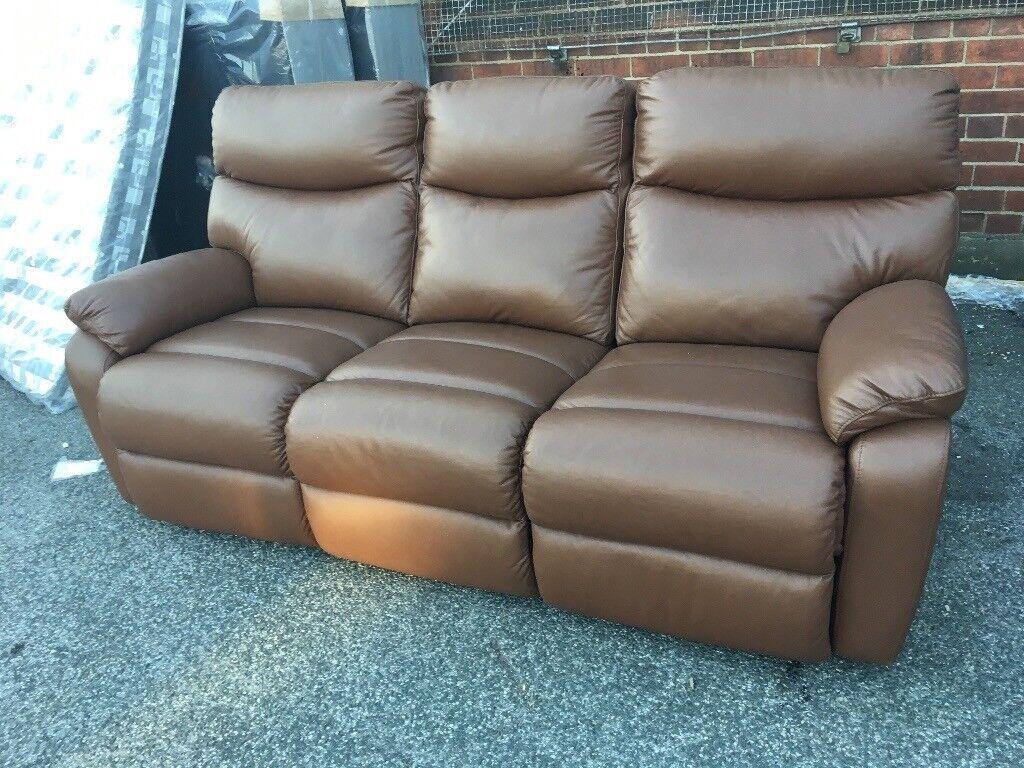 New/Ex Display LazyBoy 3 Seater Brown Caramel Recliner Sofa