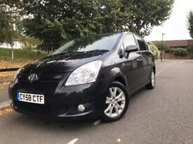 2008 Toyota Corolla Verso | 1.8 VVT-I SR AUTOMATIC PETROL BLACK ONE PREVIOUS OWNER 7 SEATER