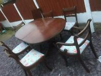 Vintage style dining table + 6 seats
