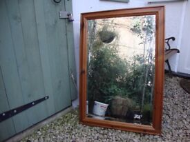 Pine Framed Bevel Edged Mirror. 34 x 24.5 inches (approx).