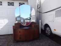 £35 Vintage serpentine dressing table with triple mirror.