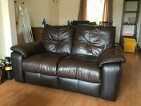 Brown leather sofa, recliner, used but in great condition