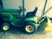 Garden tractor with mower and tiller