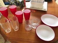 Selection of hard plastic glasses & plates