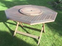 Outdoor Wooden Octagonal Table with Lazy Susan