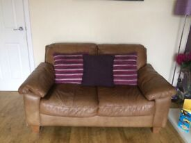 2 x Leather Seater Sofa & Footstool (Brown)