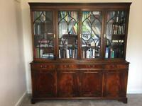 Large flame mahogany wooden bookcase
