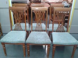 6 carved dining chairs,solid oak,high back,cushion not clean