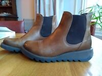 """Fly London """"Salv"""" leather ankle boots in camel colour"""