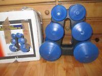 York Designer blue plastic dumbells 2 x 2.5lbs, 2 x 5lbs, 2 x 10lbs