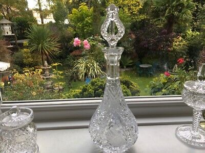 Rare vtg HOFBAUER swan bird  lead crystal glass decanter with 3 part stopper VGC