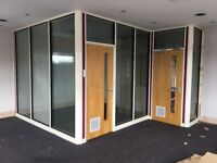 Glass Office Partition w/Internal Blinds & Doors Complete/3.5m x 3.5m/Office Dividers Partitioning