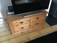 Pine coffee table/ TV stand with storage