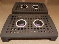 Cast Iron Trivet with two tea light candle holders for warming dishes and plates