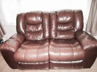 Beautiful Mahogany Leather 2 Seater Recliner Sofa for Sale