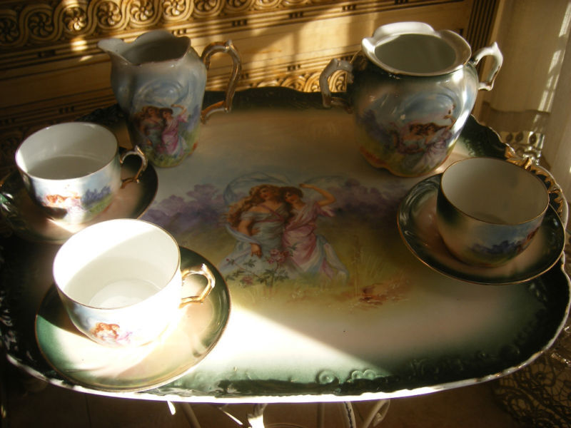 19th c Antque French Limoges  Scenic Porcelain Tray/cups tea set by Pillivuyt